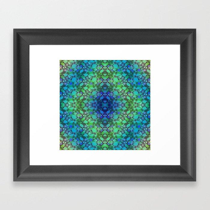 Lila's Flowers Repeat Blue Framed Art Print