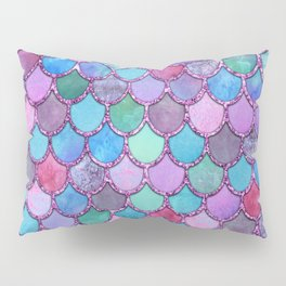 Colorful Pink Glitter Mermaid Scales Pillow Sham