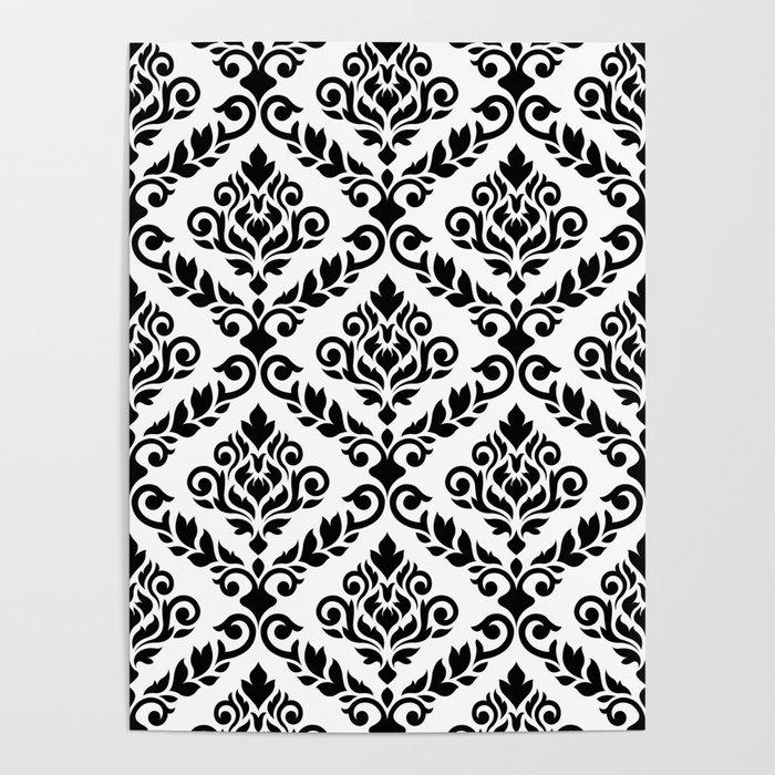 Prima Damask Pattern Black on White Poster