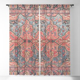 Kashan Poshti Central Persian Rug Print Sheer Curtain