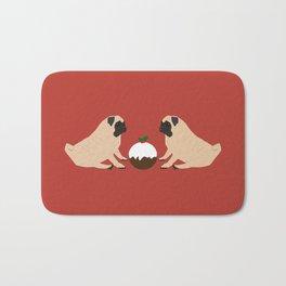 Christmas Pudding and Pugs Bath Mat