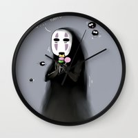 studio ghibli Wall Clocks featuring Studio Ghibli - Noface and Dango by Kayla Phan