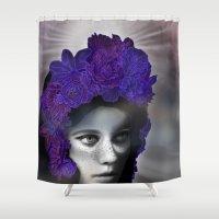 madonna Shower Curtains featuring Schwarze Madonna by Mirko Richter Grafik