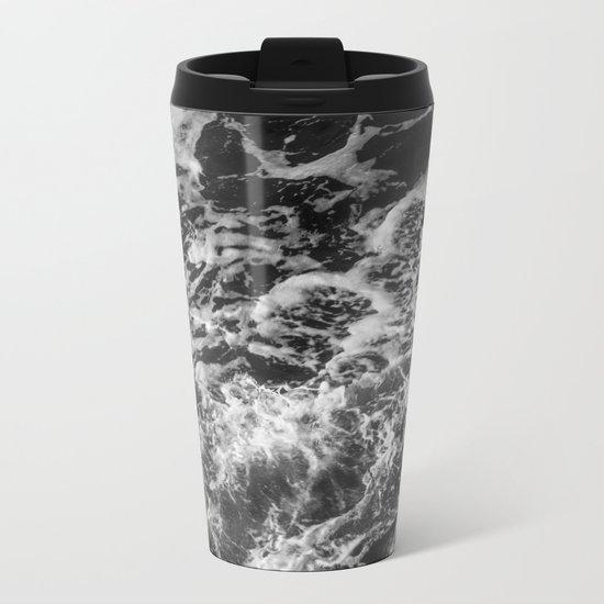 Black and white waves Metal Travel Mug