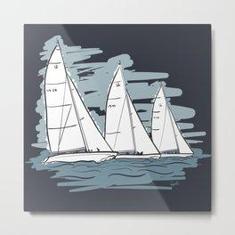 Sailbot Racing Buzzards Bay Metal Print
