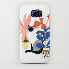 siamese cat and plants iPhone Case