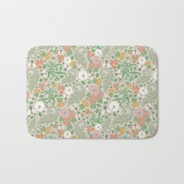 Pink and orange pansy with dandelions and bee on light background Bath Mat
