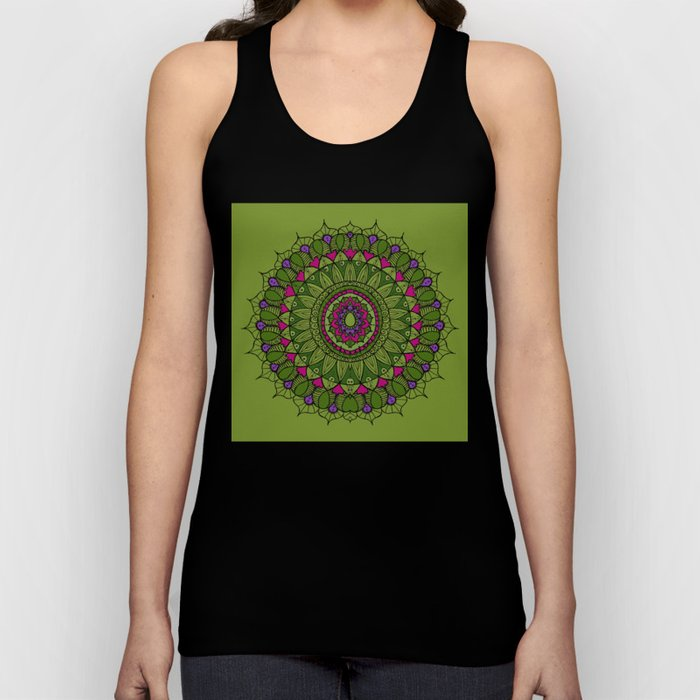 Bohemian Mandala in Green with Pink and Purple Unisex Tank Top
