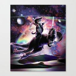 Galaxy Cat On Dinosaur Unicorn In Space Canvas Print