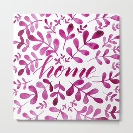Watercolor home foliage - pink Metal Print