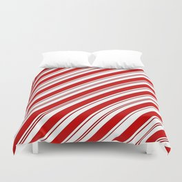 winter holiday xmas red white striped peppermint candy cane Duvet Cover