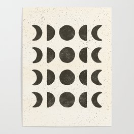 Moon Phases - Black on Cream Poster