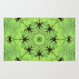 Fern frond fantasy kaleidoscope Rug