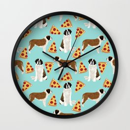 Saint Bernard pizza slices funny cute dog gifts for dog lover unique dog breeds Wall Clock
