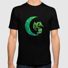 Green Jade Crescent Moon and Dragon T-shirt