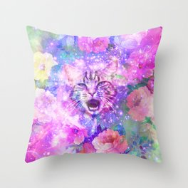Space Cat   Girly Kitten Cat Romantic Floral Pink Nebula Space Throw Pillow