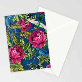 Parrots in the Jungle - Flowers and Birds on Blue Wall Decor Gift Idea Stationery Cards