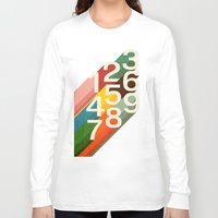 retro Long Sleeve T-shirts featuring Retro Numbers by Picomodi