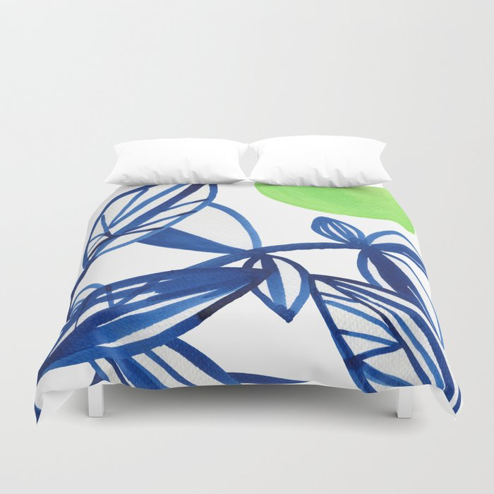 Navy blue and lime green abstract leaves Duvet Cover by elenablanco