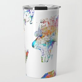 world map landmarks collage Travel Mug