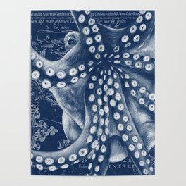 Octopus Vintage Map Blue Nautical Art Poster