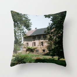 Vintage rustic house in France, South Europe | Brick farm surrounded by nature - travel photograph Throw Pillow