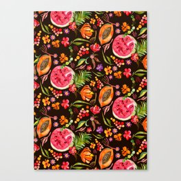 Tropical Fruit Festival in Black | Frutas Tropicales en Negro Canvas Print