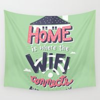 risa rodil Wall Tapestries featuring Home Wifi by Risa Rodil