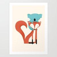 koala Art Prints featuring Fox & Koala by Jay Fleck