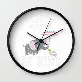 World Be Kind Elephant Trans Turtle Transgender LGBT Gift T-Shirt Wall Clock