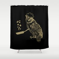 cooking Shower Curtains featuring Cooking Owl by October's Very Own