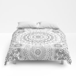 MOONCHILD MANDALA BLACK AND WHITE Comforters