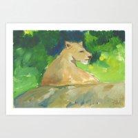 kiki Art Prints featuring Kiki by Paintmonkey Studios
