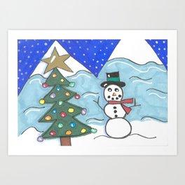 Snowman and Tree Art Print