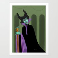 maleficent Art Prints featuring Maleficent by DROIDMONKEY
