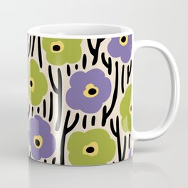 Mid Century Modern Wild Flowers Pattern Purple and Green Coffee Mug