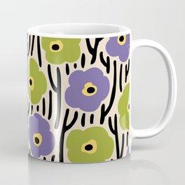 Mid Century Modern Wild Flowers Pattern Purple and Green Coffee Mug