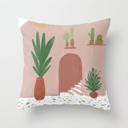 Abstract Boho Plants House Throw Pillow
