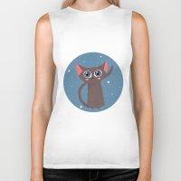 space cat Biker Tanks featuring Space cat by Alex Fabri