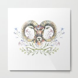 Ram's watercolor portrait with wildflowers ornament. Metal Print