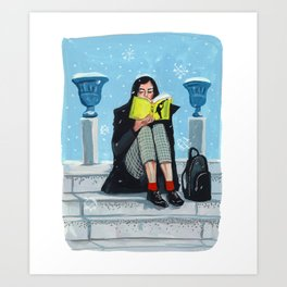 Reading in the Snow Art Print