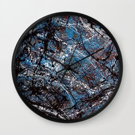"""Number 4"" Abstract Painting by Mark Compton Wall Clock"