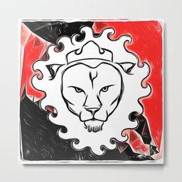 Red & Black Lion Metal Print
