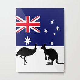Australian Flag with Emu and Kangaroo by Orikall Metal Print