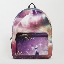 Space Cat Riding Unicorn - Laser, Tacos And Rainbow Backpack