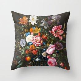 Vase of Flowers - de Heem Throw Pillow