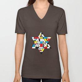 STAR OF DAVID, INSPIRED BY PIET MONDRIAN. Unisex V-Neck