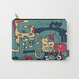 Turkoise Doodle Monster World Carry-All Pouch