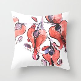 Dicentra watercolor painting beautiful flower broken heart Throw Pillow