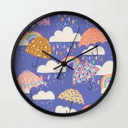 Spring Rain with Umbrellas Wall Clock
